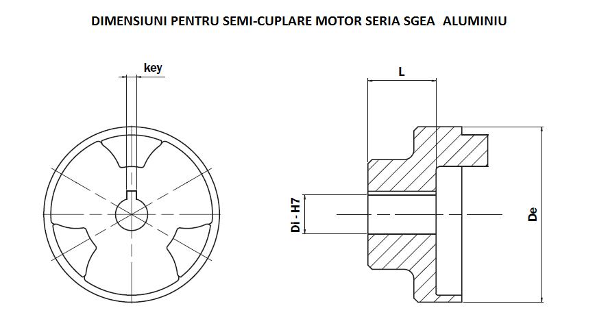 Schita cuplaje elastice semi-cuplare motor seria SGEA aluminiu